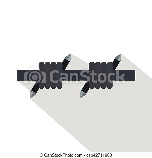 Barbed wire icon, flat style. Barbed wire icon. flat illustration of ...