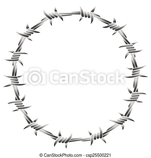 Barbed wire round frame. Barbed wire forming a round frame. isolated ...