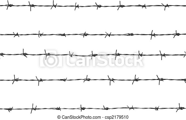 Vector illustration of five pieces of barbed wire.
