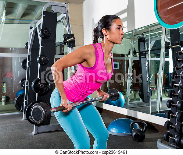 barbell bent over row supine grip woman workout at gym