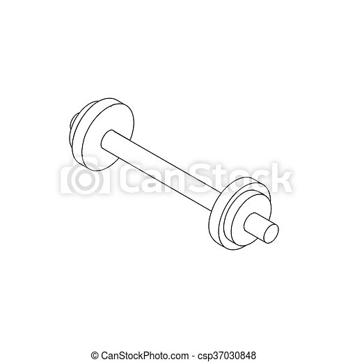 Barbell icon, isometric 3d style - csp37030848