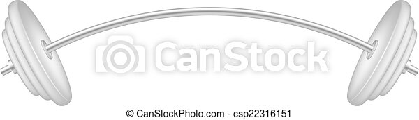 Barbell in silver and white design - csp22316151