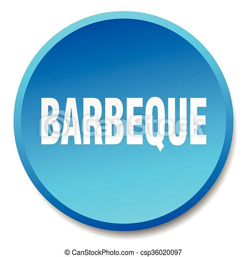 barbeque blue round flat isolated push button - csp36020097