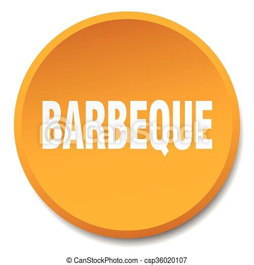 barbeque orange round flat isolated push button - csp36020107
