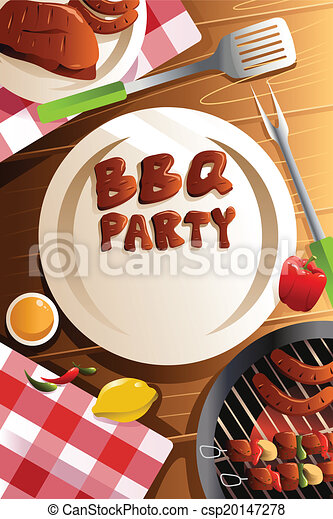 Barbeque party poster - csp20147278