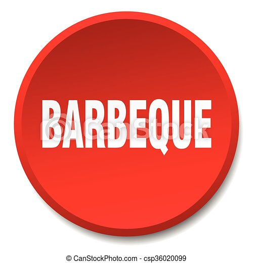 barbeque red round flat isolated push button - csp36020099