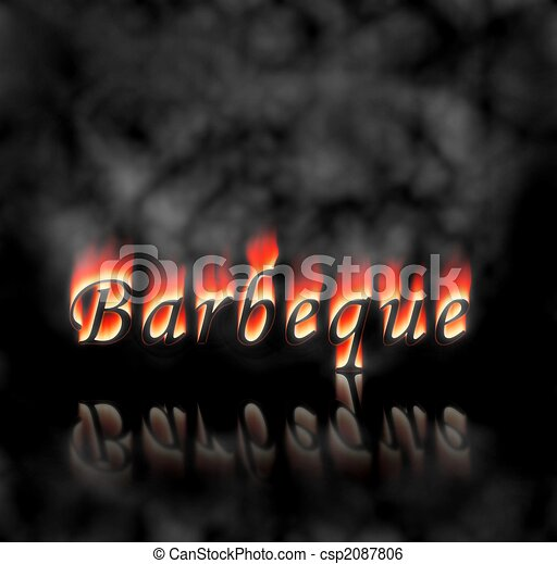 Barbeque Text On Fire - csp2087806