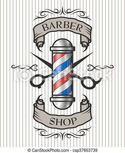 El emblema de la barbería. - csp37653739