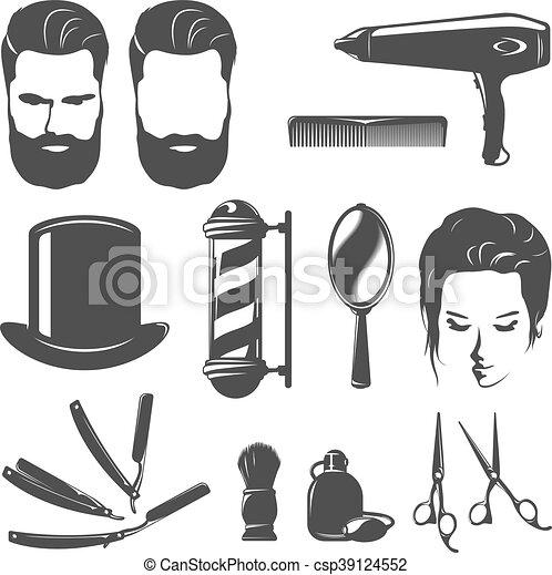 Barber Black White Vintage Icons Set