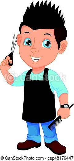 vector illustration of barber boy with scissors and comb eps vector rh canstockphoto ca barber clip art images barber clipart black and white