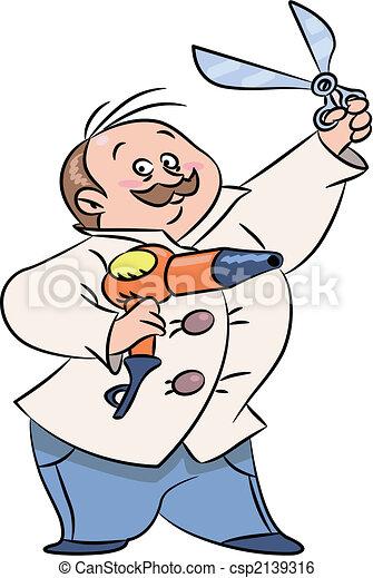 barber funny barber cartoon holding scissors and hairdryer rh canstockphoto com barber clipper set barber clipper set