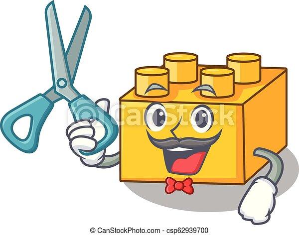 Barber plastic building blocks cartoon on toy - csp62939700