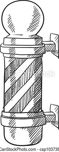 Barber pole sketch - csp10373873
