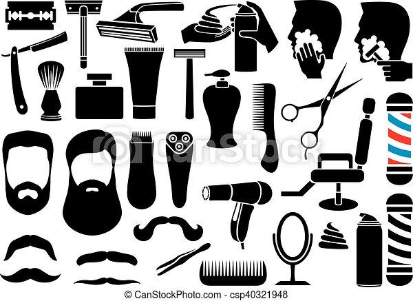 barber salon or shop vector icons - csp40321948