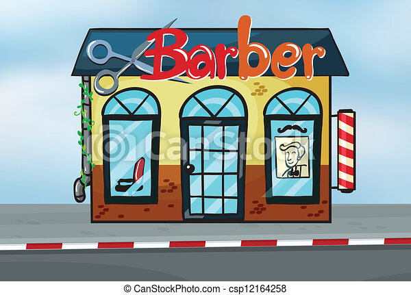 barber shop illustration of barber shop on road rh canstockphoto com barber shop clip art free barber shop clip art images