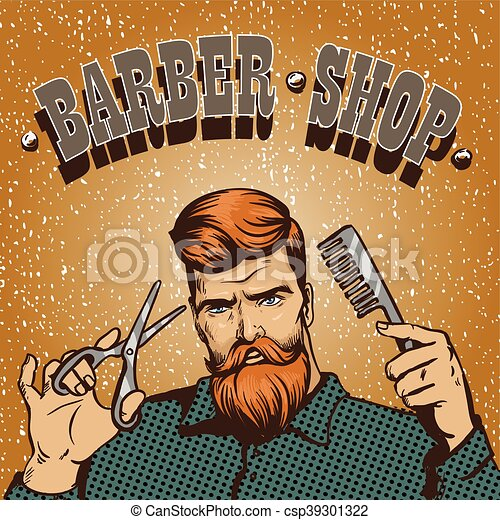 Barber Shop Poster Vector Illustration Hipster Stylist With Scissors Design In Vintage Pop Art