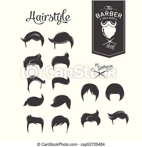 barbershop barber haircut hairstyle logo template vector
