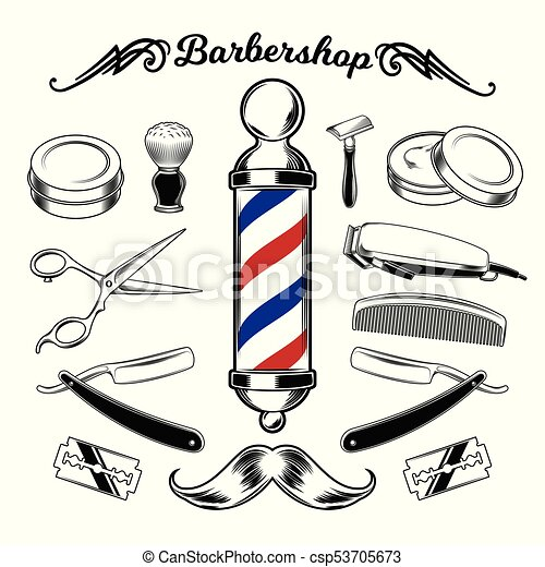 Barbershop Barber Haircut Hairstyle Logo Template Vector