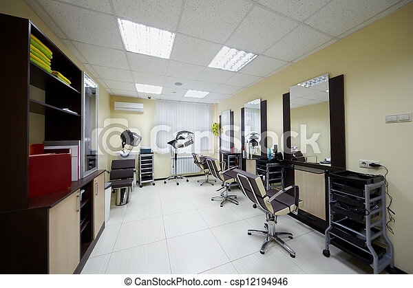 Barbershop cabinet with three working places in the beauty salon - csp12194946
