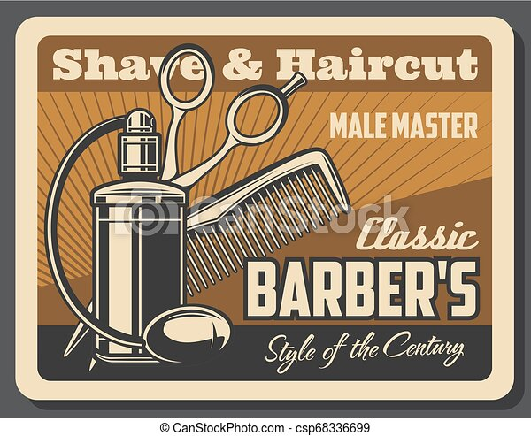 barbershop hair and beard comb scissors cologne barbershop shave and haircut service vector. Black Bedroom Furniture Sets. Home Design Ideas