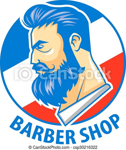 barbershop logo illustration of barber shop logo vector rh canstockphoto ie barber shop clip art free barber shop clipart free