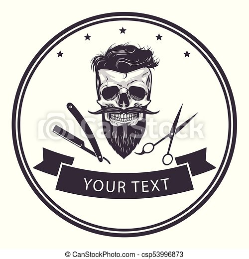 Barbershop logo template. bearded skull vector ...