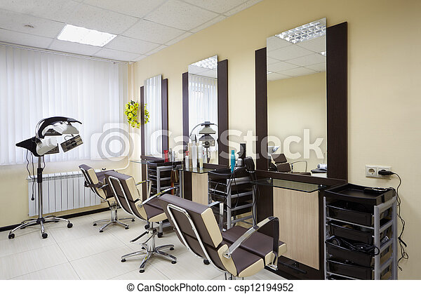 Barbershop room with three working places in the beauty salon - csp12194952
