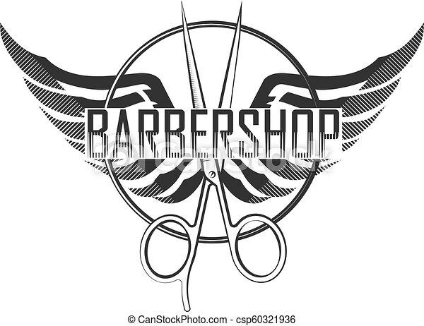 Barbershop silhouette scissors - csp60321936