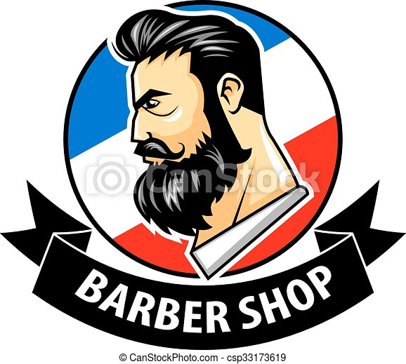 vector illustration of barbershop with ribbon logo vector clip art rh canstockphoto ca barber shop clip art images barber shop chair clipart