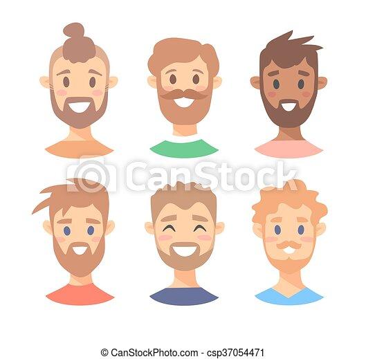 barbu, ensemble, caractère, jeune, mâle - csp37054471