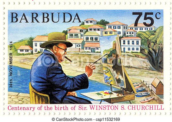 BARBUDA - CIRCA 1974 : great UK politic Winston Churchill painting picture - csp11532169