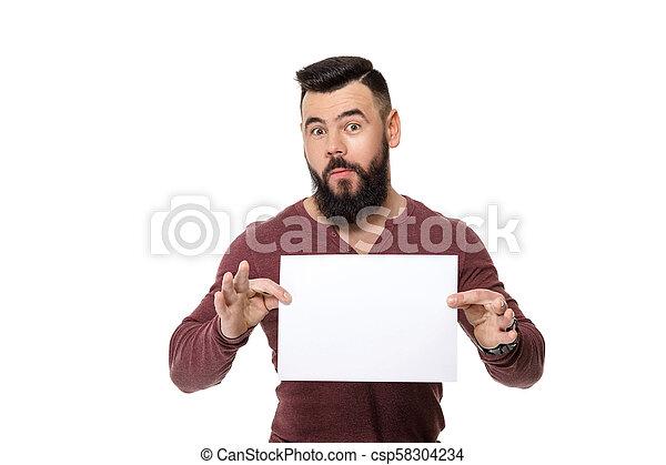 barbuto, bianco, card., presa a terra, uomo - csp58304234