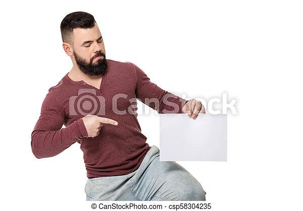 barbuto, bianco, card., presa a terra, uomo - csp58304235