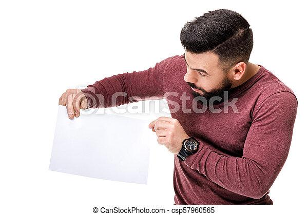 barbuto, card., presa a terra, bianco, vuoto, uomo - csp57960565