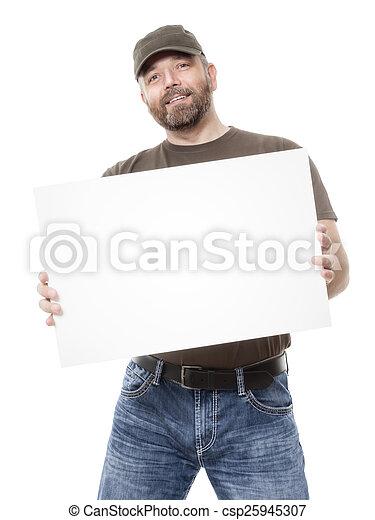 barbuto, cartoncino bianco, uomo - csp25945307