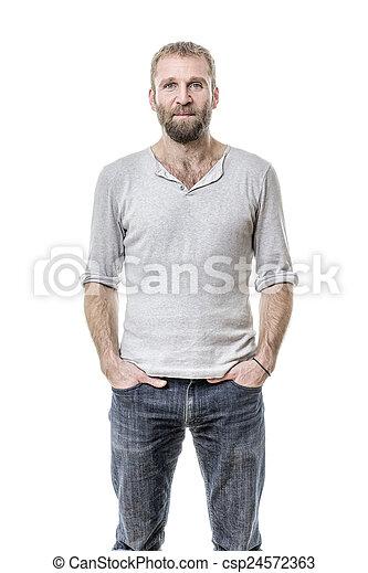 barbuto, casuale, uomo - csp24572363