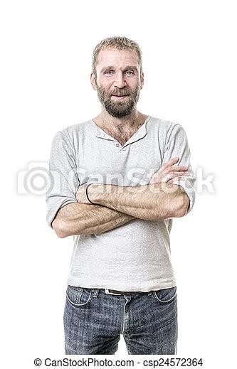 barbuto, casuale, uomo - csp24572364
