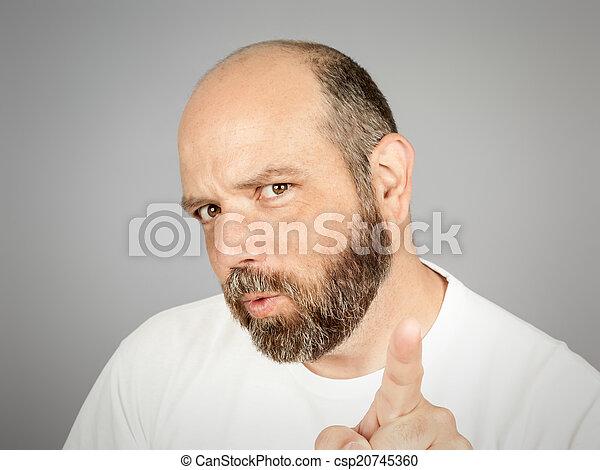 barbuto, indicare, uomo - csp20745360
