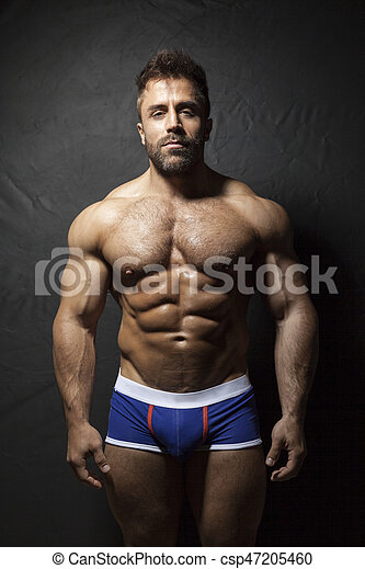 barbuto, muscolare, uomo - csp47205460