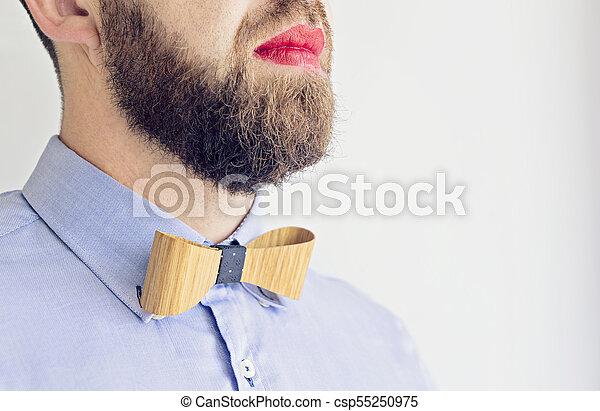 barbuto, rossetto, labbra, adulto, rosso, uomo - csp55250975