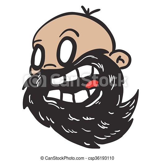 Barbuto uomo calvo barbuto calvo cartone animato