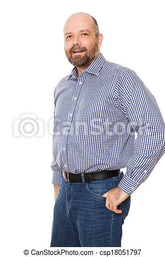 barbuto, uomo sorridente - csp18051797