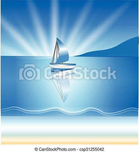 barca, fondo, onde - csp31255042