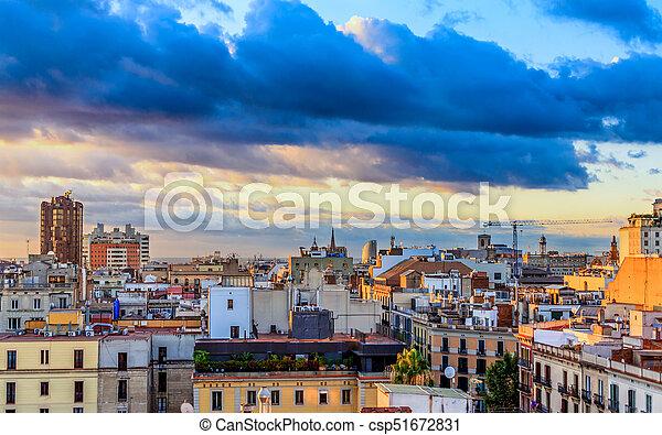 Barcelona at Sunset - csp51672831