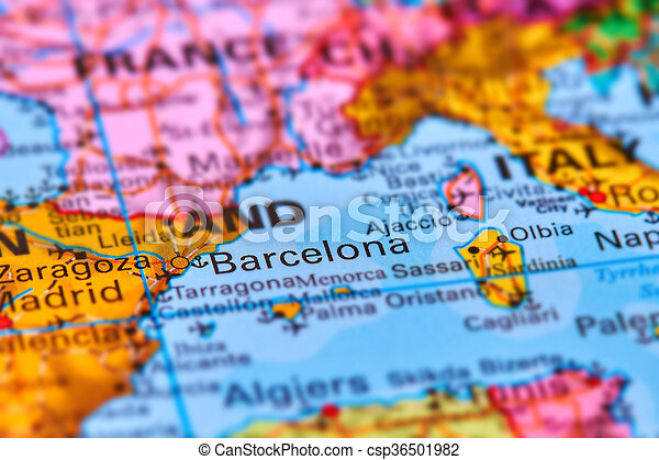 Barcelona City In Spain On The Map Barcelona City In Catalonia Spain On The Iberian Peninsula On The World Map