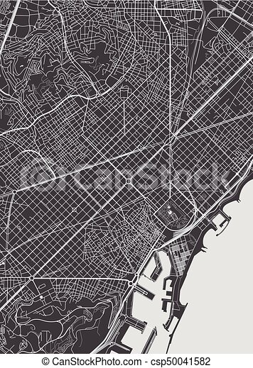 Carte Icom Barcelone.Barcelona City Plan Detailed Vector Map