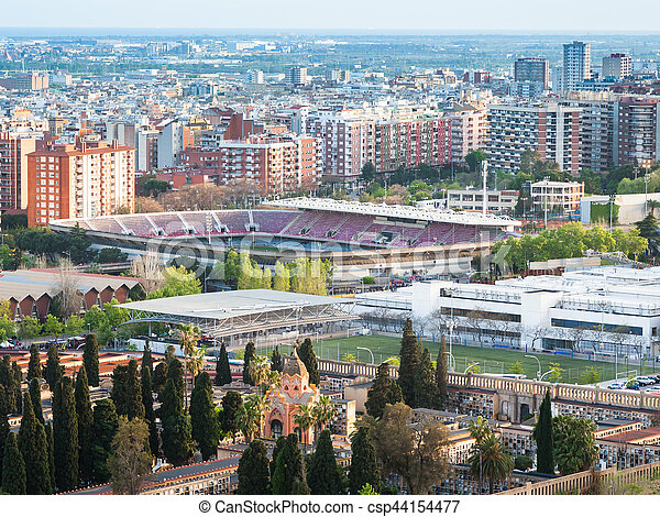 Barcelona cityscape with camp nou stadium - csp44154477