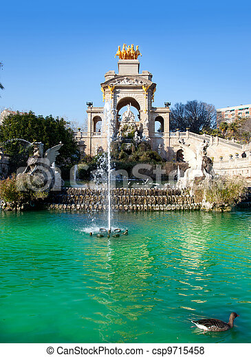 Barcelona ciudadela park lake fountain and quadriga - csp9715458
