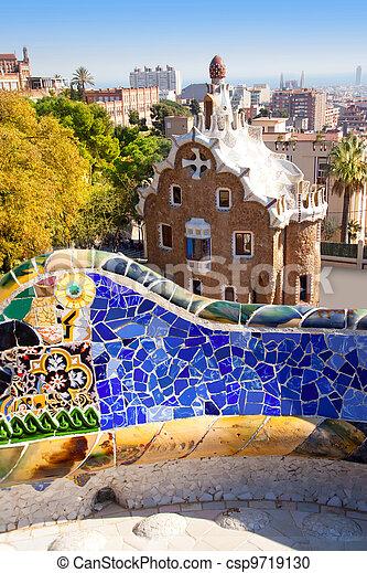 Barcelona Park Guell of Gaudi modernism - csp9719130