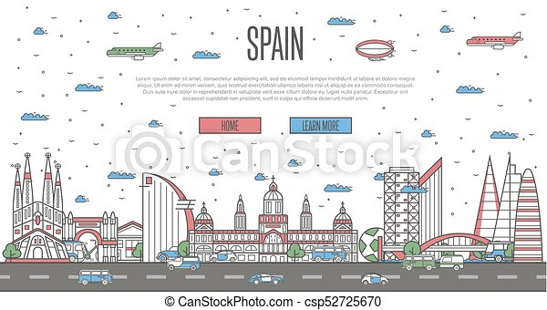 Carte Icom Barcelone.Barcelona Skyline With National Famous Landmarks In Linear Style